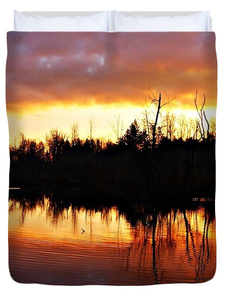Sunrise Thanksgiving Morning Duvet Cover by Joe Faherty