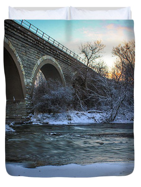 Sunrise Under The Bridge Duvet Cover