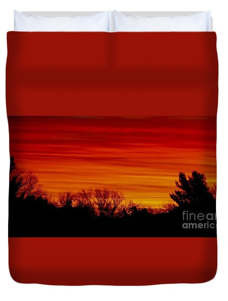 Duvet Cover featuring the photograph Sunrise Y-town by Angela J Wright