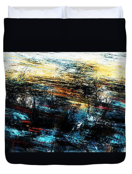 Duvet Cover featuring the digital art Sunset 083014 by David Lane