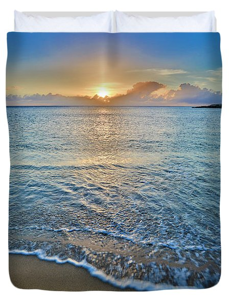 Sunset Above Kawakiu Nui Beach Duvet Cover