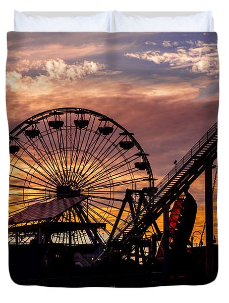 Sunset Amusement Park Farris Wheel On The Pier Fine Art Photography Print Duvet Cover by Jerry Cowart
