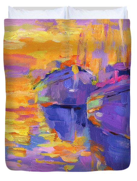 Sunset And Boats Duvet Cover