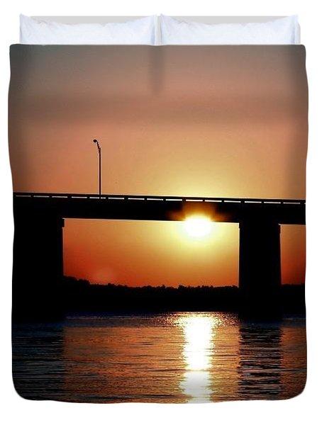 Sunset And Bridge Duvet Cover by Debra Forand