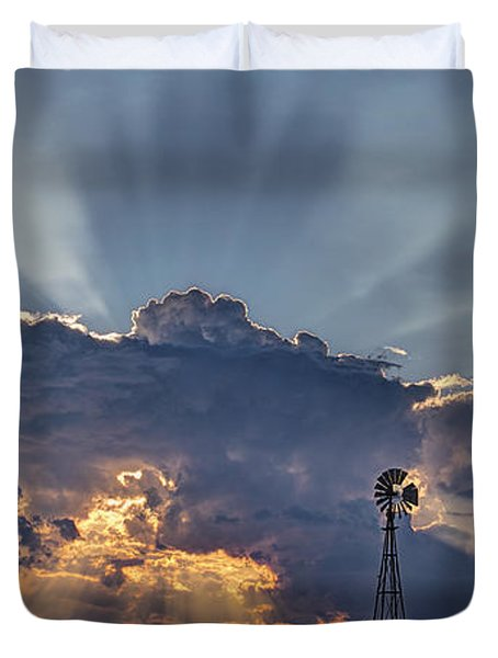 Sunset And Windmill Duvet Cover by Rob Graham
