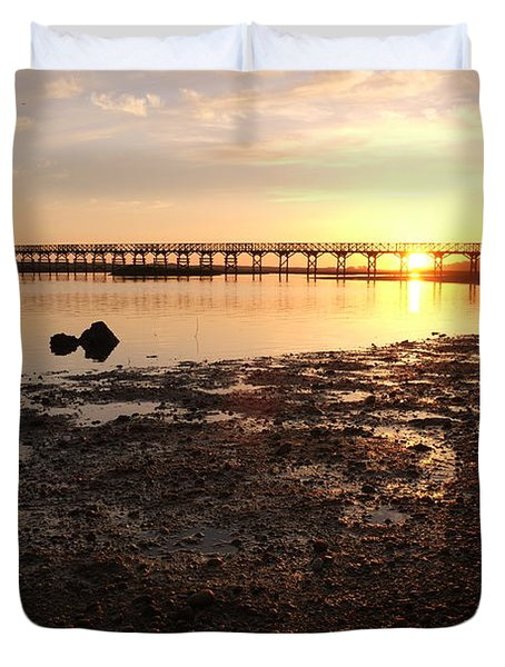 Sunset And Wooden Bridge In Ludo Duvet Cover
