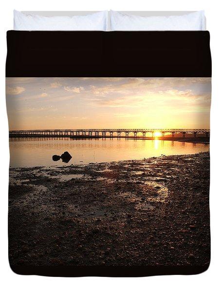 Sunset And Wooden Bridge In Ludo Duvet Cover