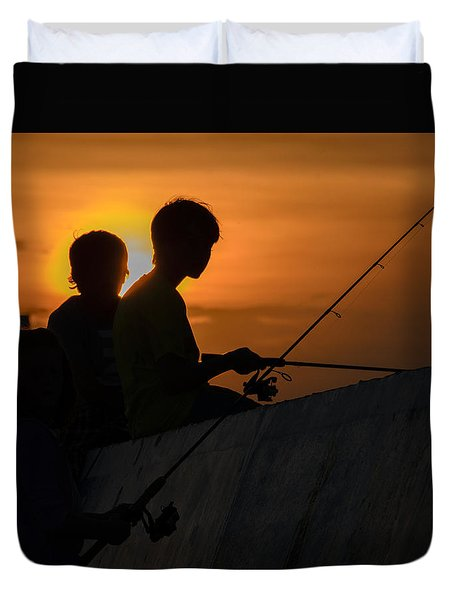 Sunset Anglers Duvet Cover