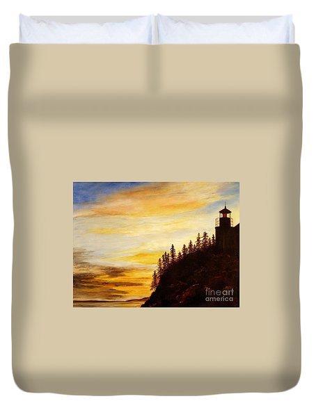 Duvet Cover featuring the painting Sunset At Bass Harbor by Lee Piper