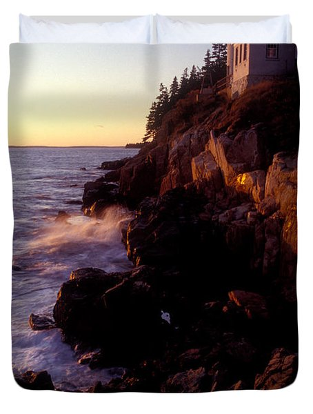 Sunset At Bass Harbor Lighthouse Duvet Cover by Brent L Ander