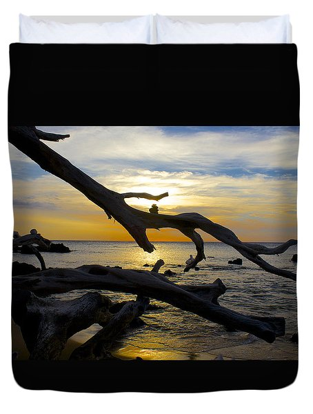 Driftwood At Sunset On Beach '69 Duvet Cover by Venetia Featherstone-Witty