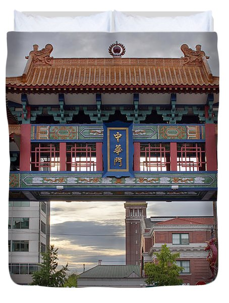 Duvet Cover featuring the photograph Sunset At Chinatown Gate In Seattle Washington by JPLDesigns