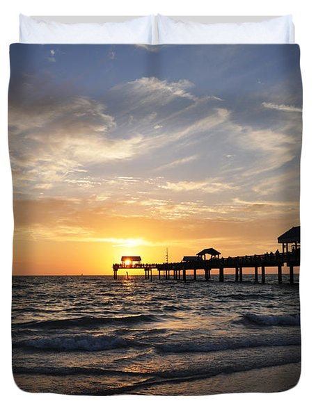 Sunset At Clearwater Duvet Cover by Bill Cannon