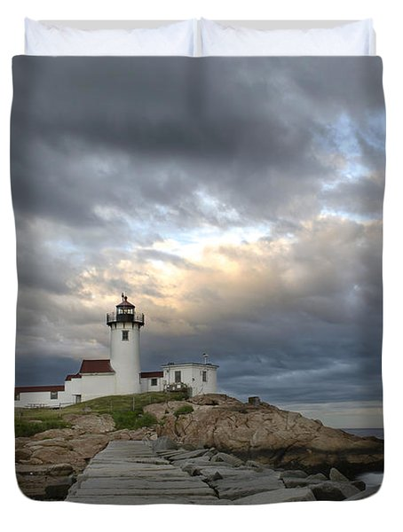 Sunset At Eastern Point Lighthouse Duvet Cover