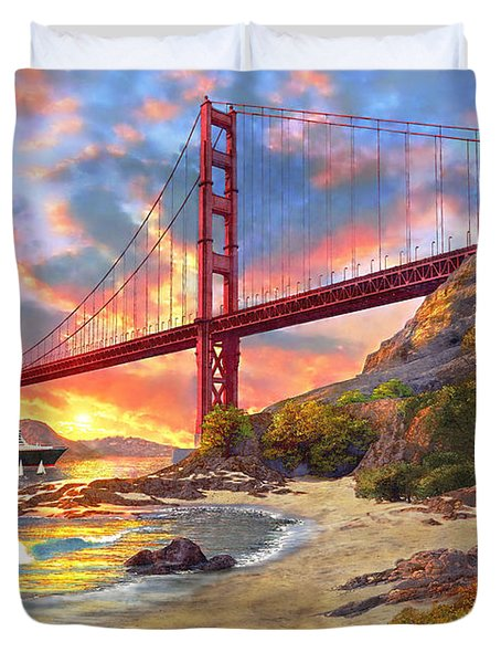 Sunset At Golden Gate Duvet Cover