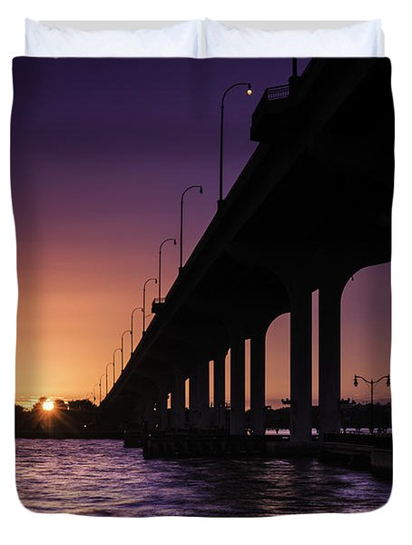 Sunset At Jensen Beach Duvet Cover by Fran Gallogly