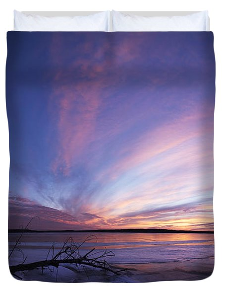 Sunset At Lovewell Lake Kansas Duvet Cover