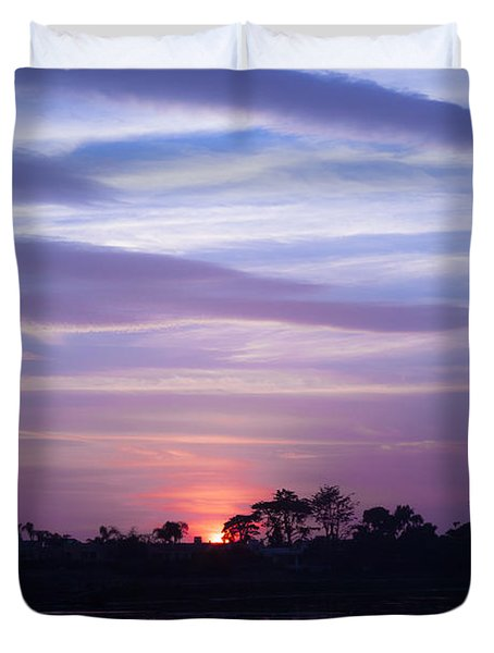 Sunset At Malibu Beach Lagoon Estuary Fine Art Photograph Print Duvet Cover by Jerry Cowart