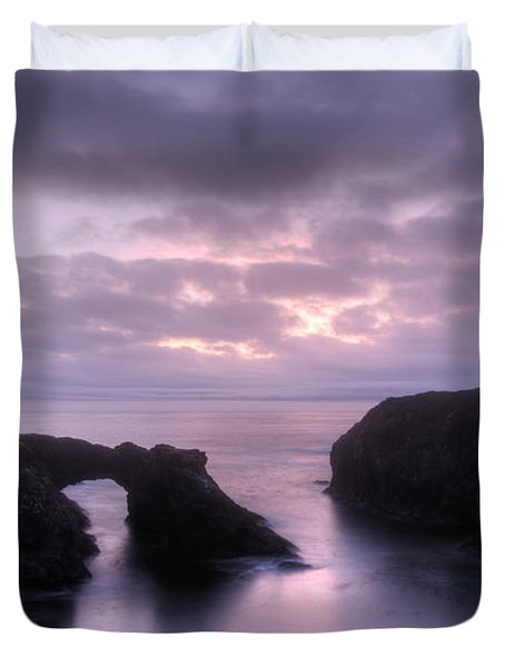 Sunset At Mendocino Duvet Cover by Bob Christopher