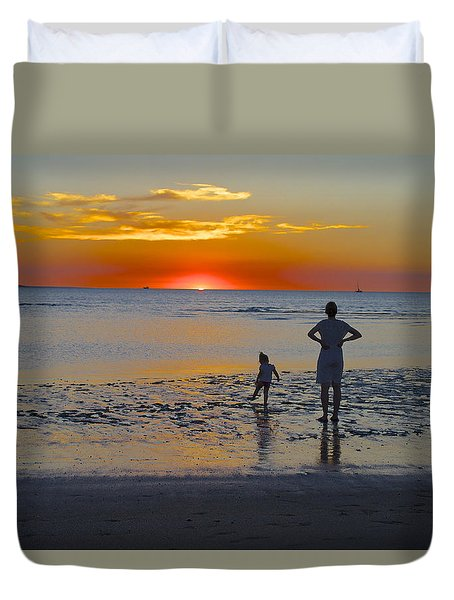 Sunset At Mindil Beach Duvet Cover by Venetia Featherstone-Witty
