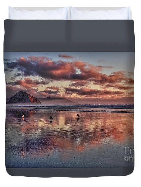 Sunset At Morro Strand Duvet Cover