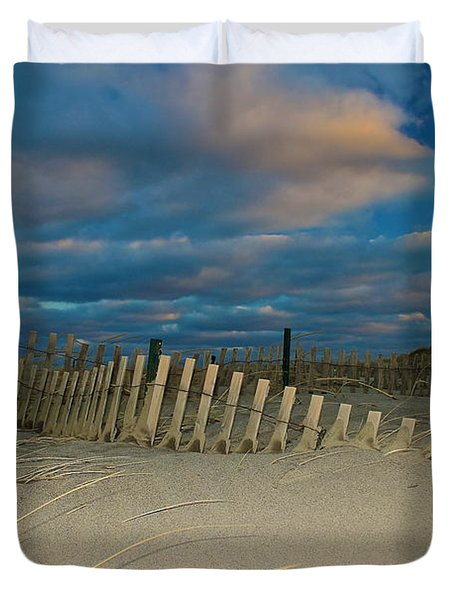 Sunset At Nauset Beach Cape Cod Duvet Cover