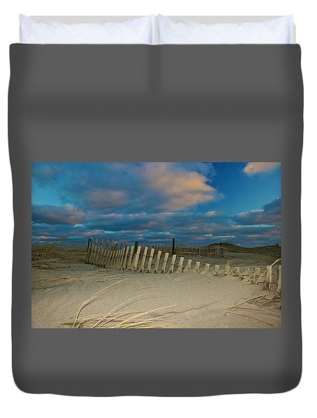Sunset At Nauset Beach Cape Cod Duvet Cover by Amazing Jules