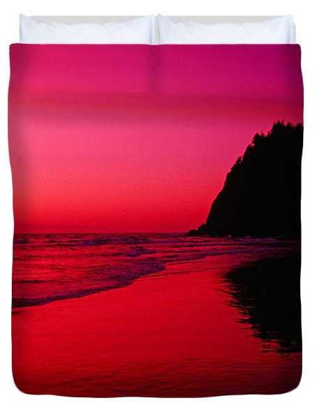 Sunset At Neskowin Beach- Proposal Rock Duvet Cover