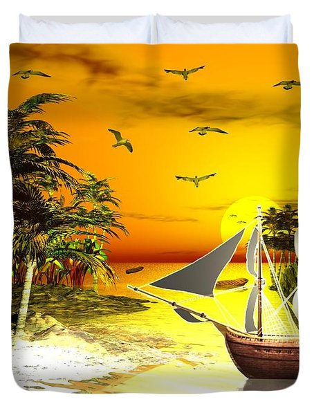 Sunset At Pirates Cove Duvet Cover