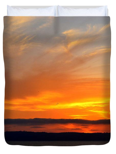 Sunset At Point Loma From Coronado California Duvet Cover