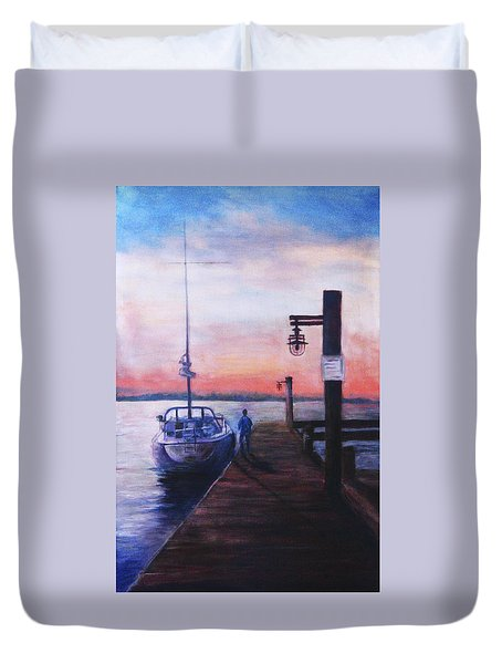 Sunset At Rocky Point Duvet Cover