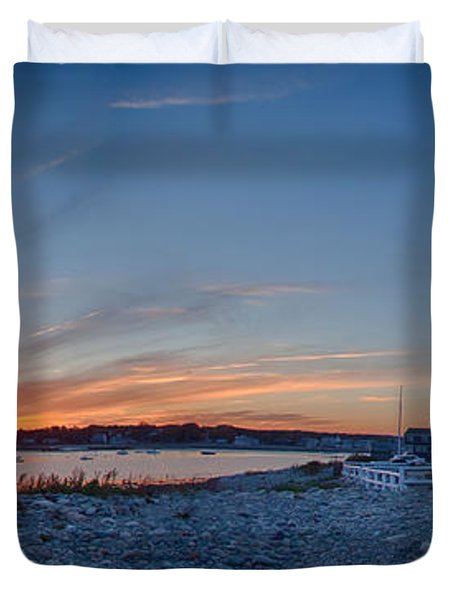 Sunset At Scituate Light Duvet Cover