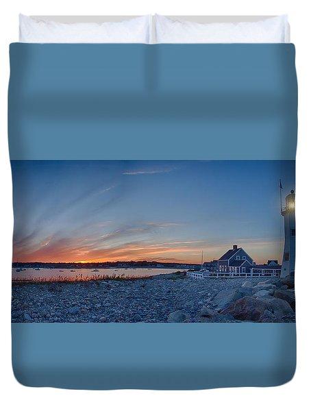 Sunset At Scituate Light Duvet Cover