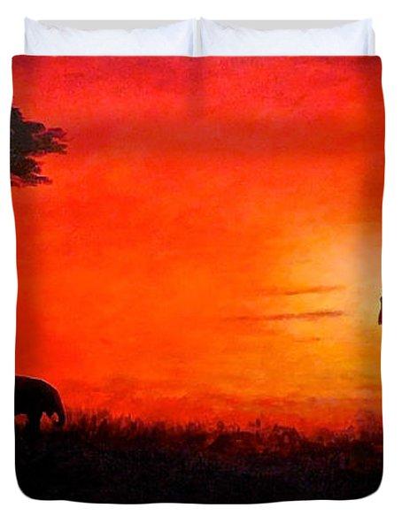 Sunset At Serengeti Duvet Cover