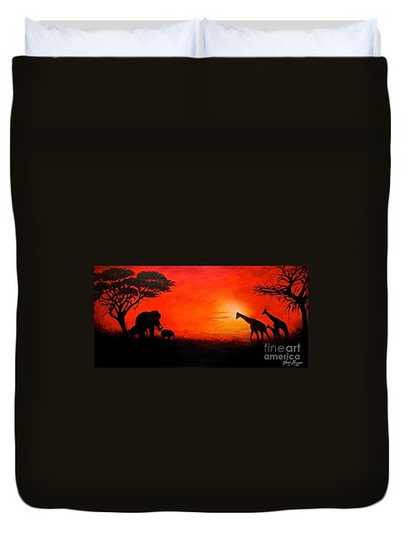 Sunset At Serengeti Duvet Cover