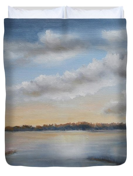Sunset At Sparta Lake New Jersey Duvet Cover
