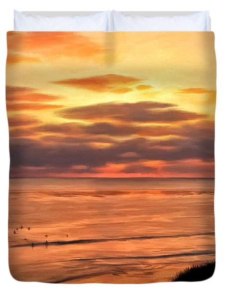 Sunset At Swami's Encinitas Duvet Cover by Michael Pickett