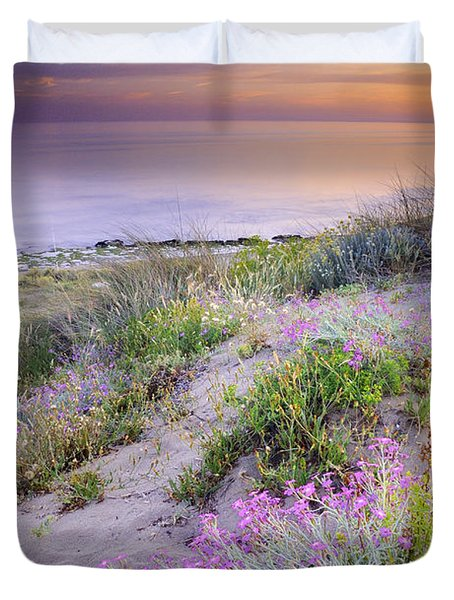 Sunset At The Beach  Flowers On The Sand Duvet Cover by Guido Montanes Castillo