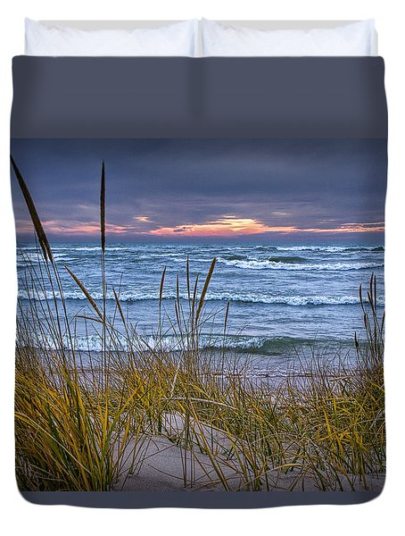 Sunset On The Beach At Lake Michigan With Dune Grass Duvet Cover by Randall Nyhof