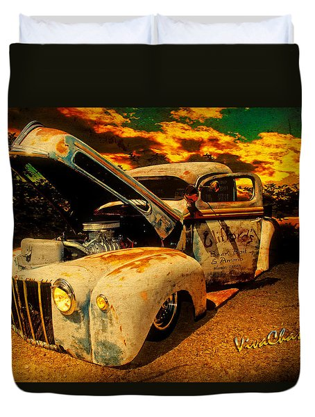 Sunset At The Blanco River Duvet Cover by Chas Sinklier