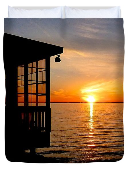 Sunset At The Crab Shack Duvet Cover