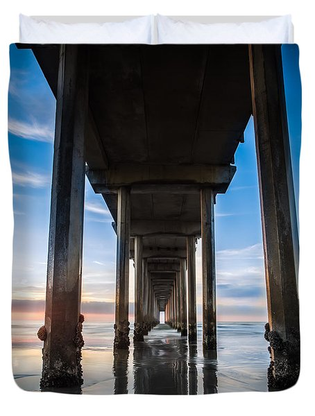 Sunset At The Iconic Scripps Pier Duvet Cover