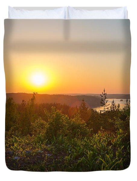 Sunset At The Lake Hiidenvesi Duvet Cover