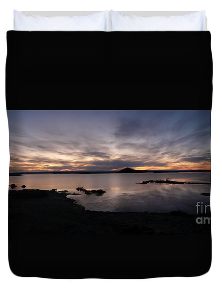 Sunset Over Lake Myvatn In Iceland Duvet Cover