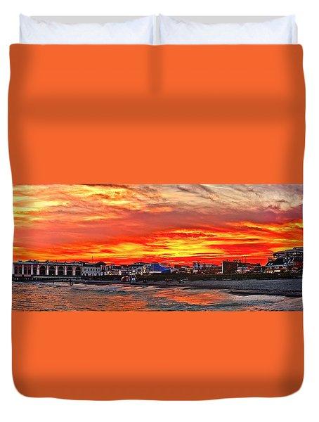 Sunset At The Music Pier Duvet Cover