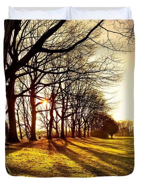 Sunset At The Park Duvet Cover by Daniel Heine