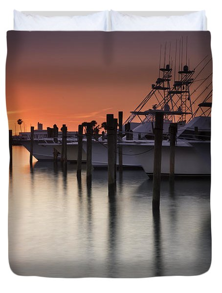 Sunset At The Pelican Yacht Club Duvet Cover by Fran Gallogly