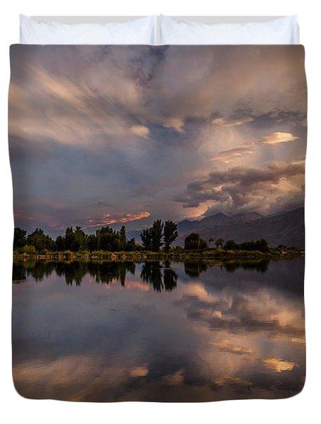 Sunset At The Pond Duvet Cover