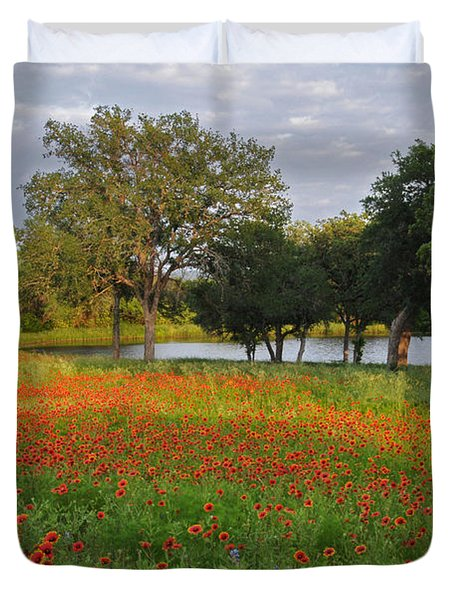 Sunset At The Pond Duvet Cover by Lynn Bauer