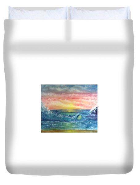 Duvet Cover featuring the painting Sunset At The Seashore  by Becky Lupe